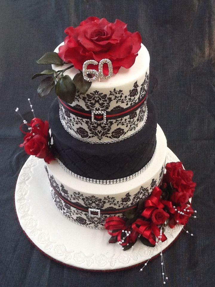 60th Birthday Cake Red White Black Theme 60th Birthday