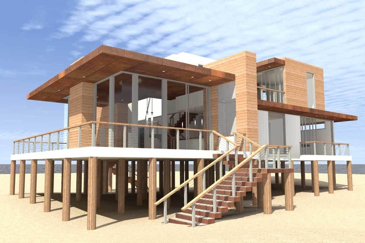 Plan 44122td Ultra Modern 4 Bed Beach Home Plan In 2021 Beachfront House Modern Beach House Small Beach Houses