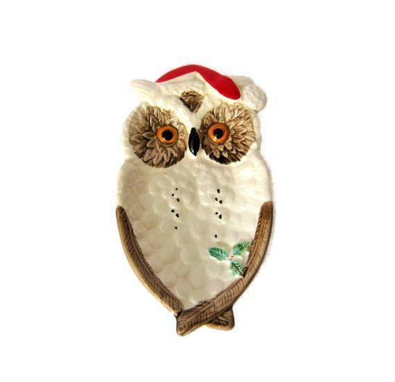Vintage Christmas Enesco Owl Santa hat Spoon Rest Ceramic ...