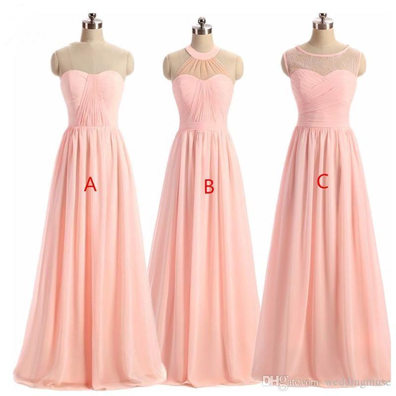Women Bridesmaid Dress 2018 Light Pink A Line Lace Illusion Neckline Cheap Long Bridesmaid Dresses Light Pink Bridesmaid Dresses Patterned Bridesmaid Dresses