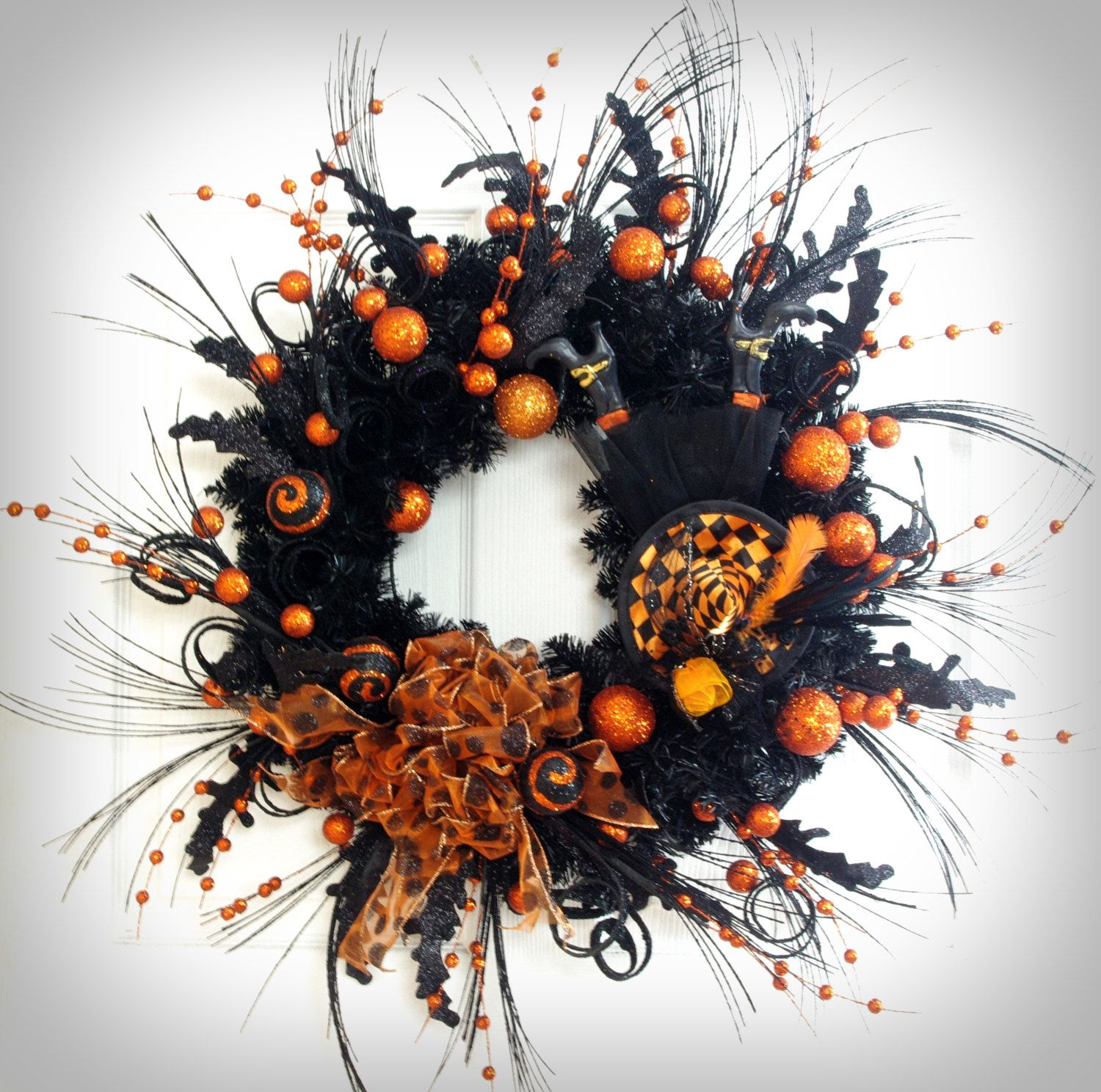 Halloween Wreath * Black Wreath * Black Purple and Orange Wreath - Front Door Halloween Decorations