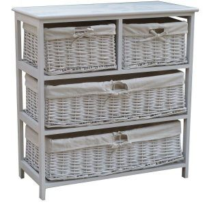 High Quality Wood Storage Cabinet With Wicker Baskets