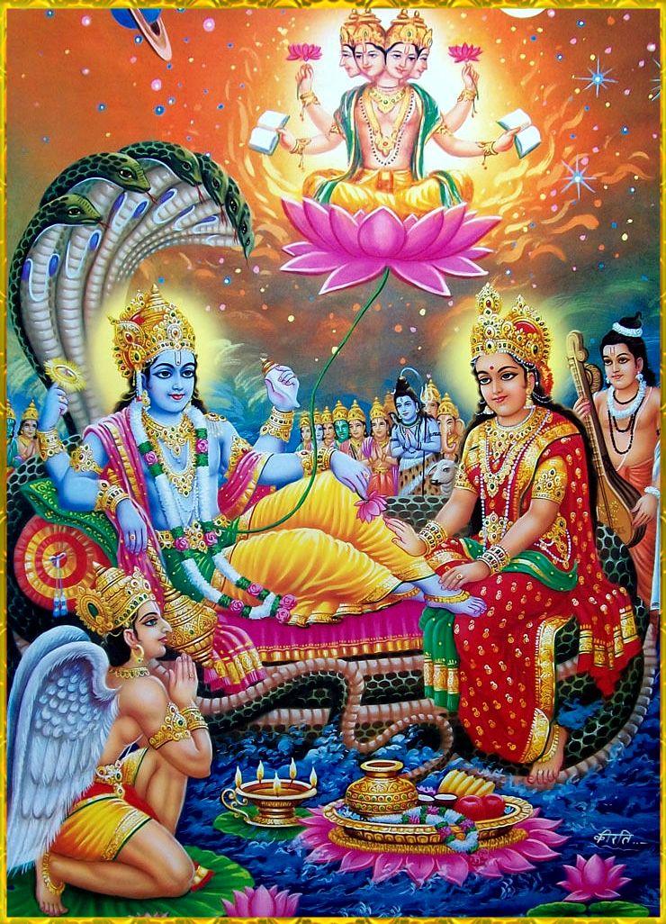 Vishnu Art Photo Shri Hari Laxmi Lord Vishnu Krishna Hindu