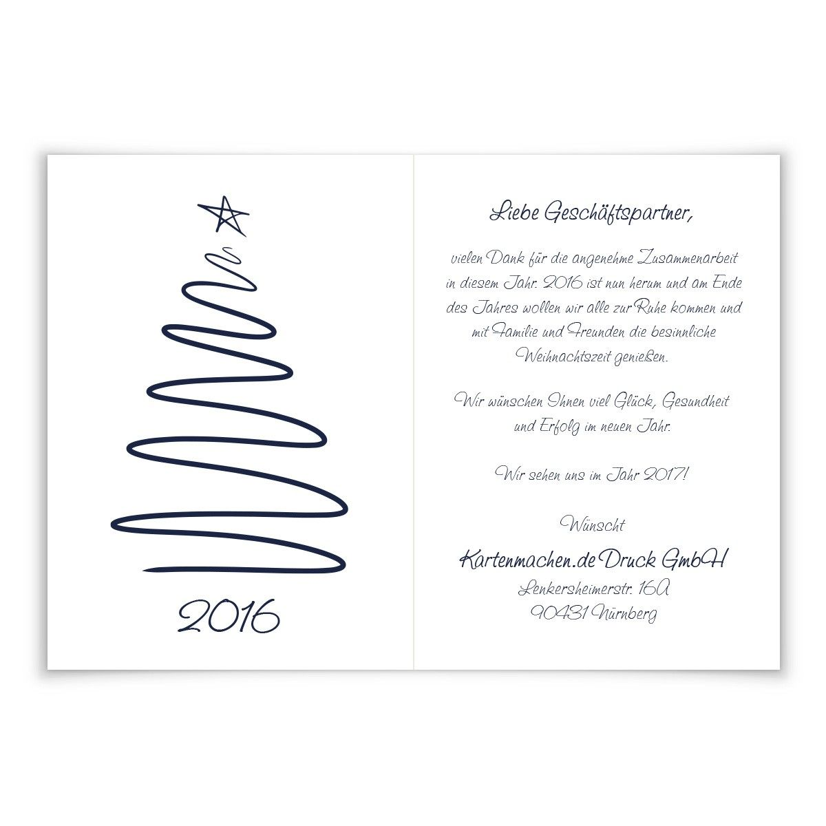 Geschäftliche Weihnachtskarten - gezeichneter Tannenbaum in Blau