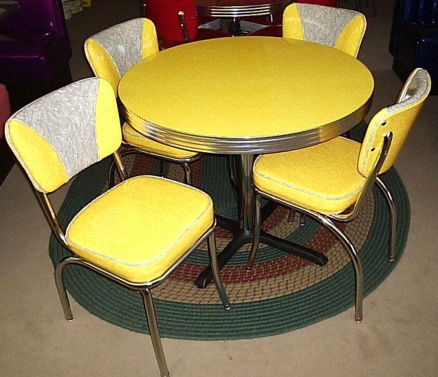 Yellow Cracked Ice Round Diner Table W 4 V Back Chairs Usa New Yellow 36 Table 4 Vb 4leg
