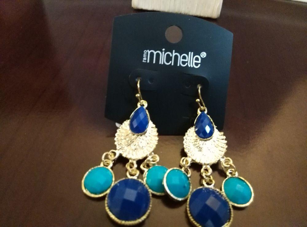 Chandelier Earrings Blue Turquoise Goldtone Ramo Michele  #Michelle #Chandelier