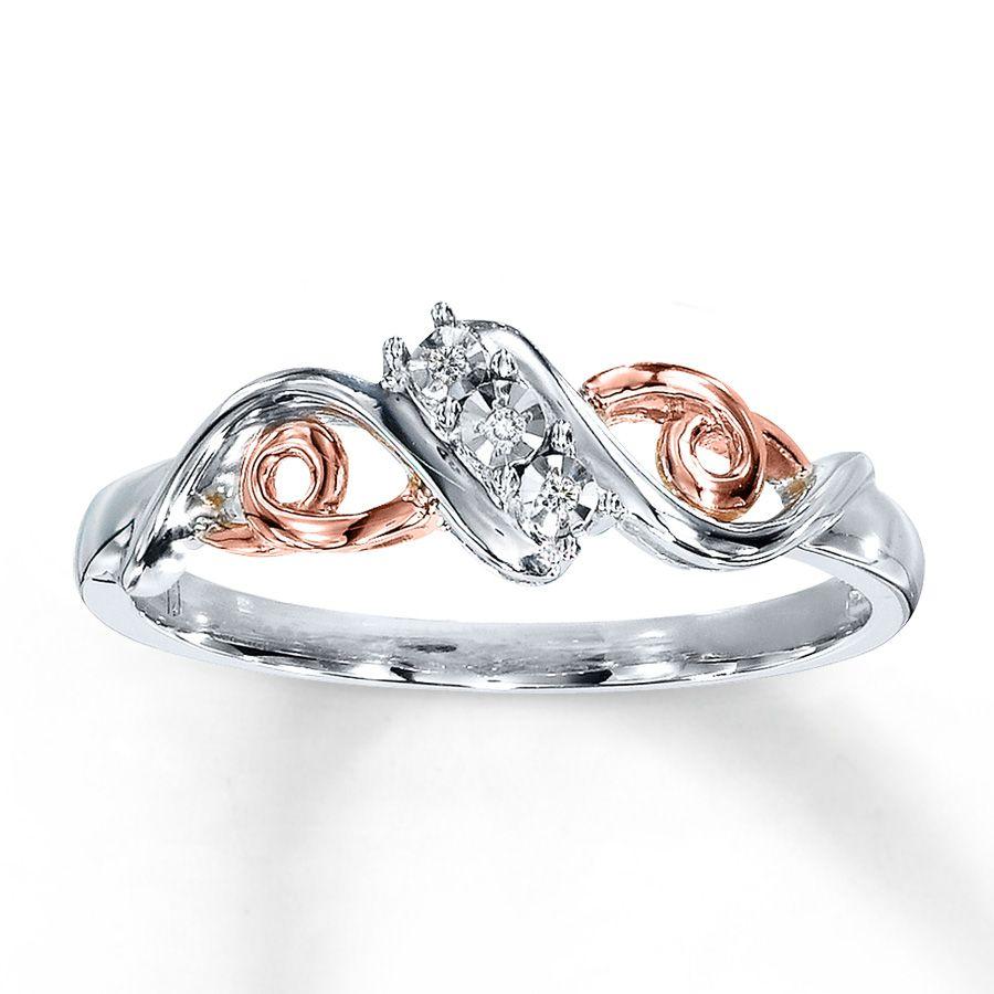 Diamond Ring 10K Rose Gold Sterling Silver | Vintage rose gold ...