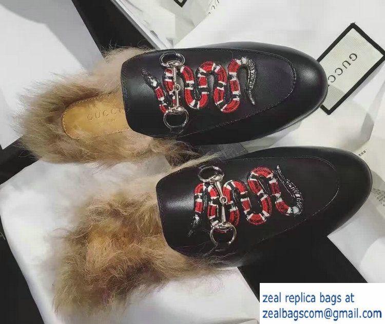 b87de4e91c9 Gucci Princetown Leather Fur Slipper 429054 Snake 2016