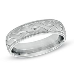 Zales Mens 8.0mm Comfort Fit Milgrain Wedding Band in Sterling Silver
