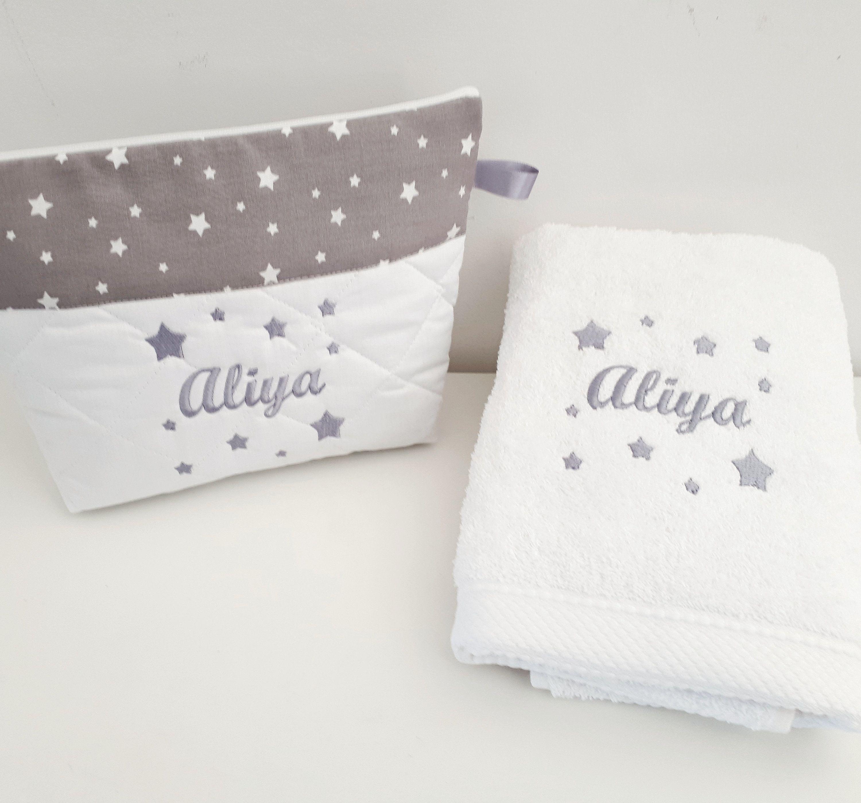 Box cadeau: serviette +trousse de toilette personnalisées brodée
