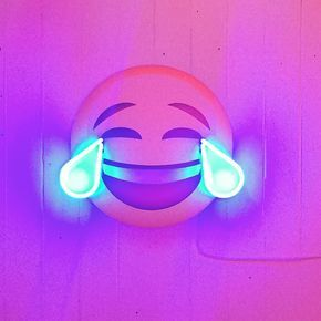 Everyone's favourite emoji current exhibition featuring artists working in light art and neon #art #soho #neon #illuminati by boxgalleries