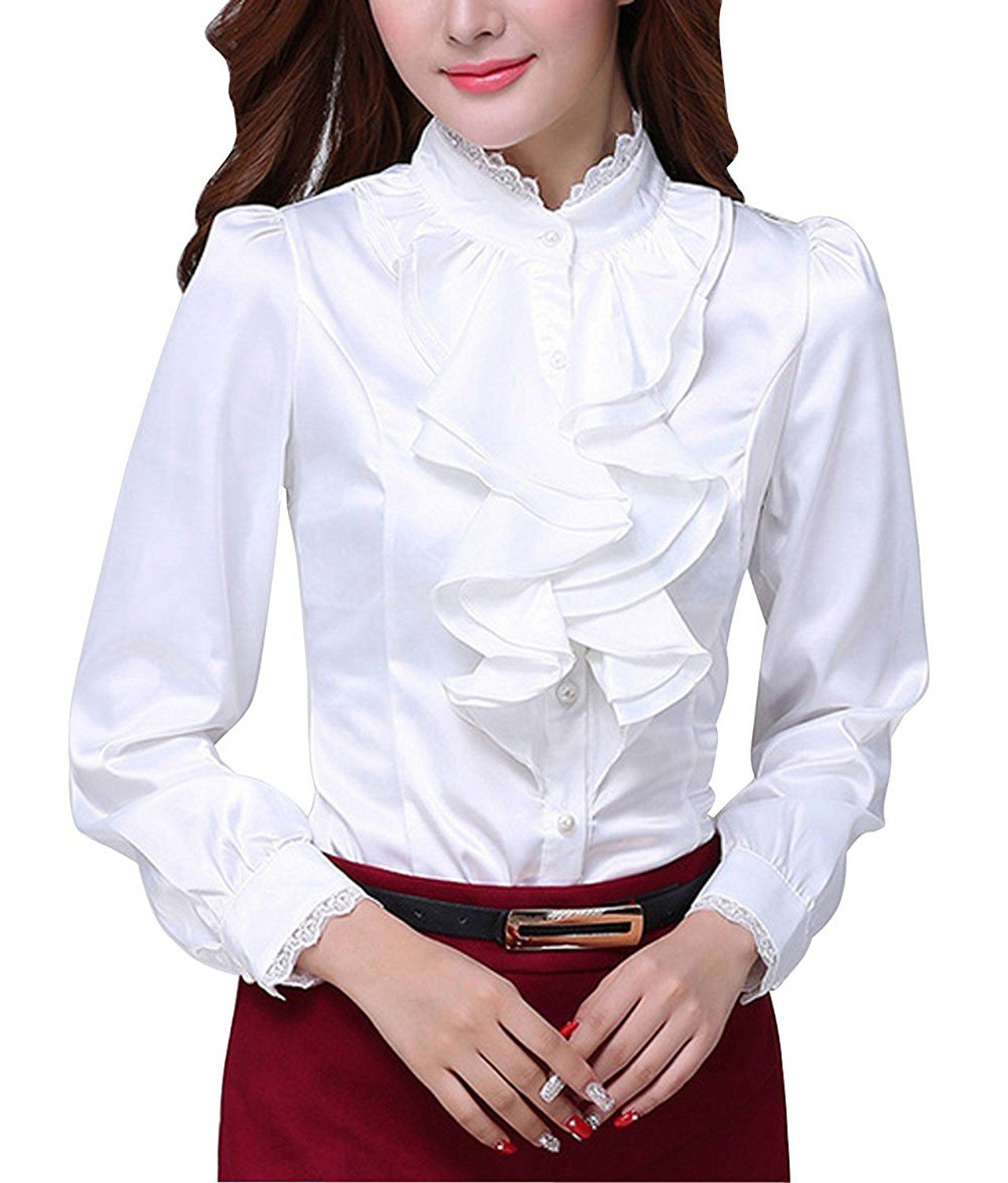 28ca6a878e568a DPO Women's Chiffon Ruffle Lace Founcing Front Shirt Long Sleeve Blouse  White 12, XXL at Amazon Women's Clothing store: