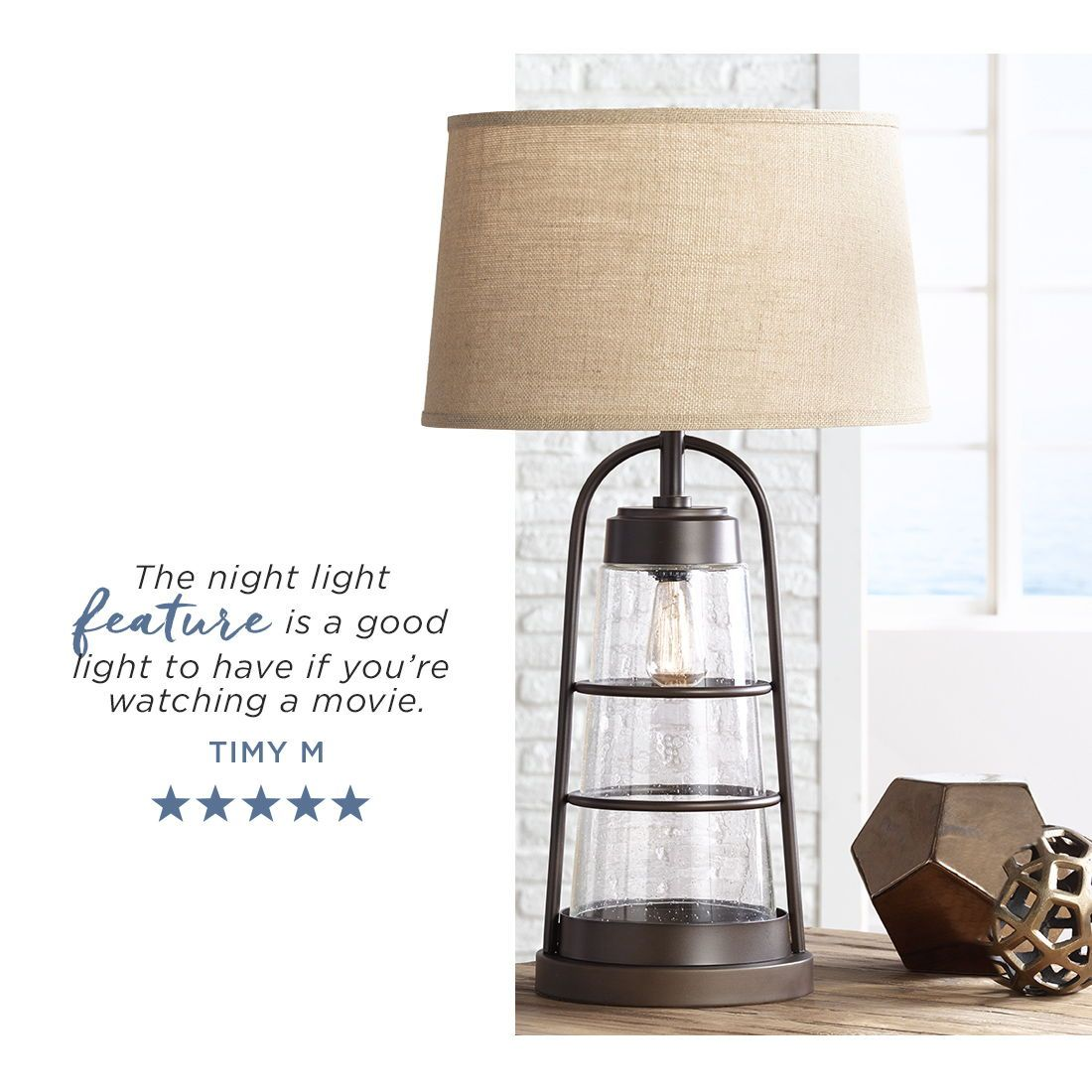 Industrial Lantern Table Lamp With Night Light 2v218 Lamps