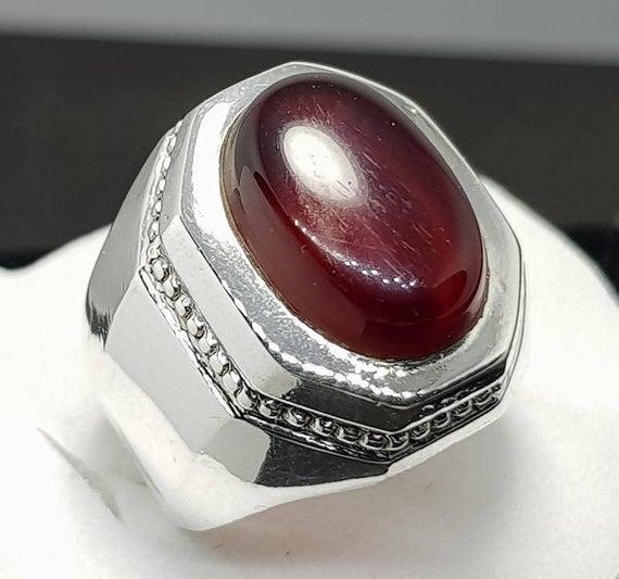 rare agate carnelian 925 sterling silver ring natural genuine aqeeq yemen agate aqeeq stone-mens ring