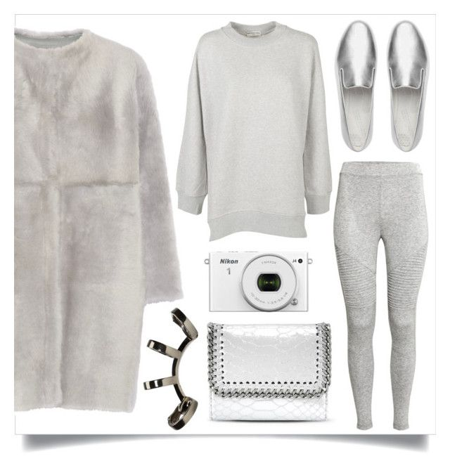 """""""Grey Shearling Coat"""" by skad183 on Polyvore featuring Balenciaga, Karl Donoghue, FitFlop, STELLA McCARTNEY and Repossi"""