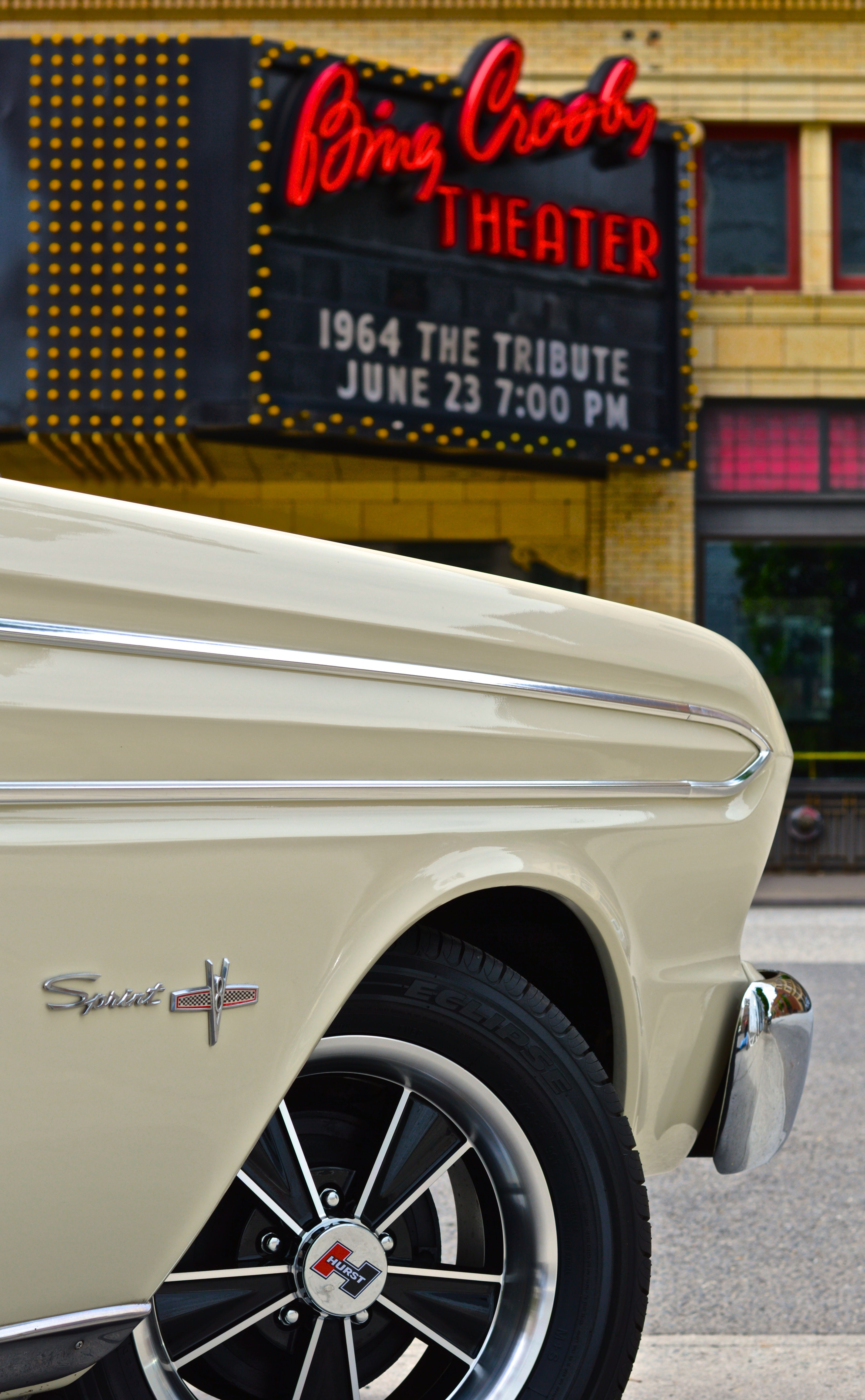 Smartphone wallpaper 64 ford falcon sprint convertible parked in front of the bing crosby theater downtown spokane wa