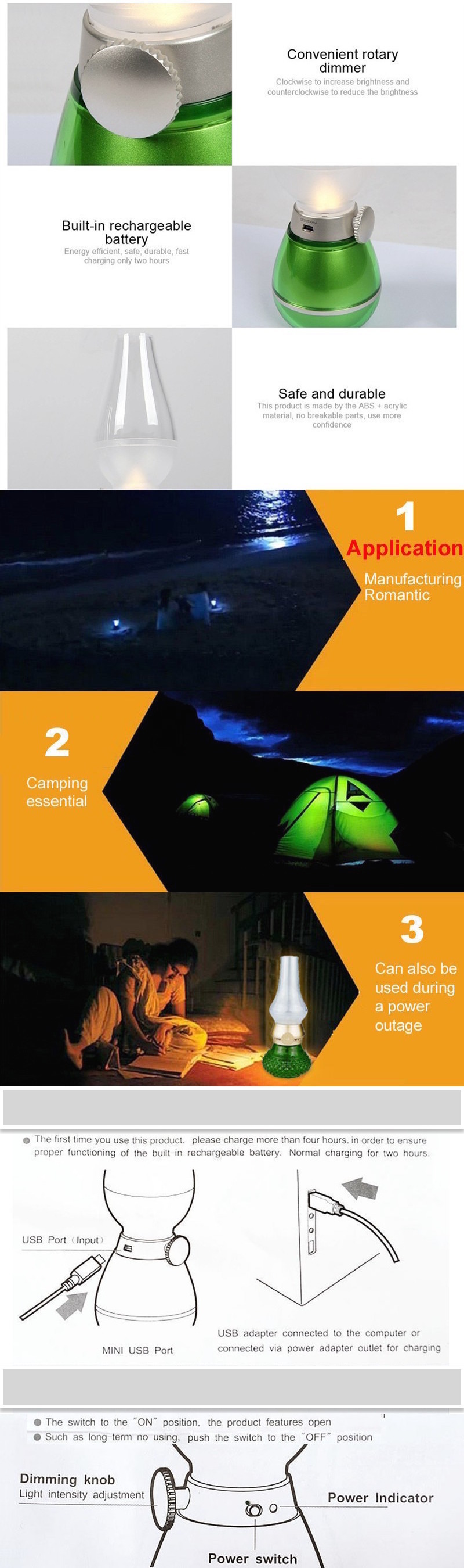 LUCE Z2  USB Rechargeable LED Blow Control Nightlight