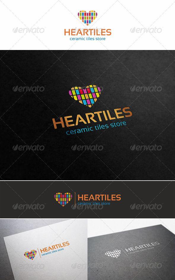 Colorful Heart Tiles Logo — Vector EPS #development #falling in love • Available here → https://graphicriver.net/item/colorful-heart-tiles-logo/5585998?ref=pxcr