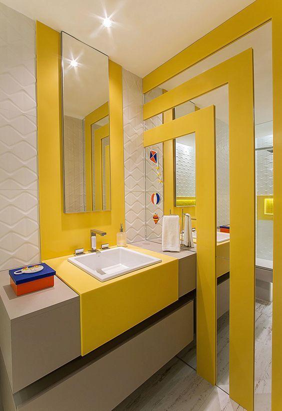 45 Cool Small Balcony Design Ideas: Cool 45 Small Yellow Bathroom Decorating Ideas