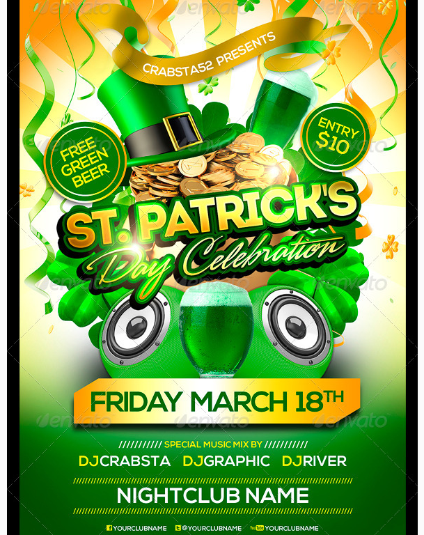 St PatrickS Day Celebration Flyer Template  Party Flyer