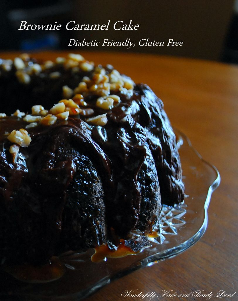 A gluten free, diabetic friendly Brownie Caramel Cake that fits into a Trim and Healthy Lifestyle.  (GF, Diabetic Friendly, THM~Crossover)