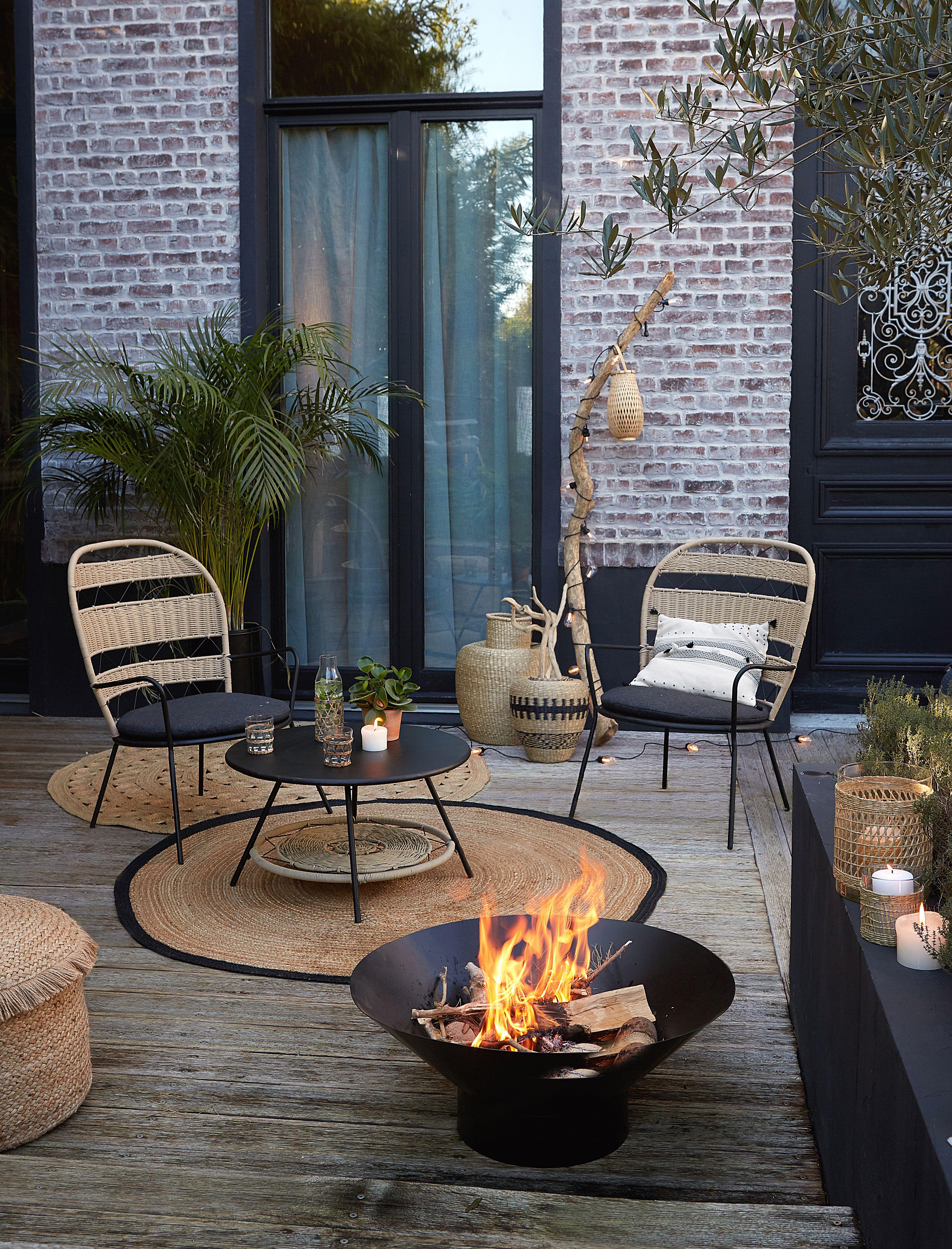 Set De Jardin Metal Et Corde Martaban En 2020 Petits Espaces En Plein Air Jardin Exterieur Et Jardin Moderne