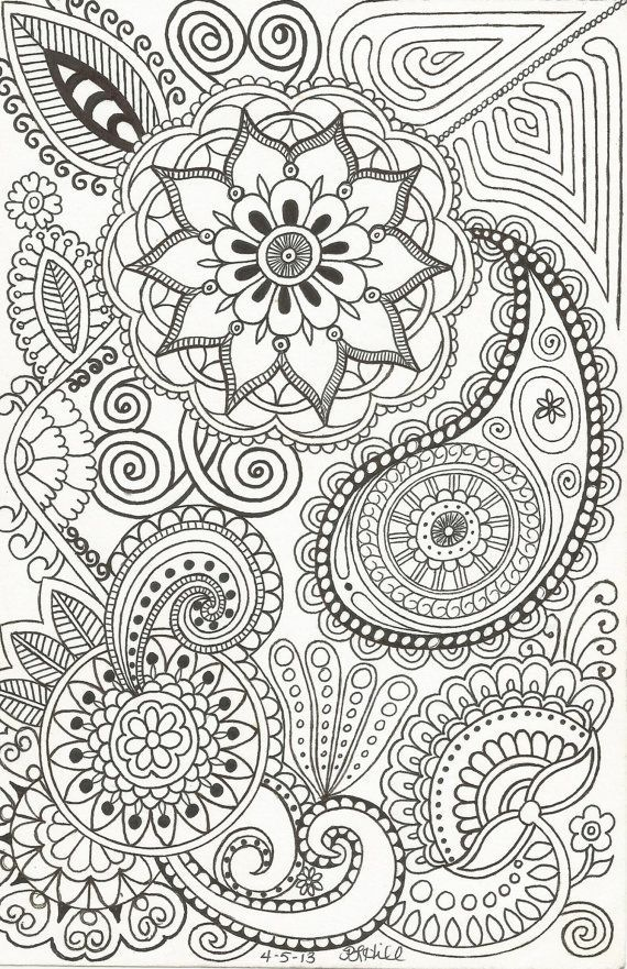Henna-Inspired Doodle (by Patricia Hill) of Paisleys, Flowers ...