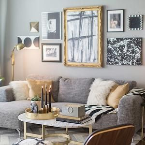 Marble Oval Coffee Table Contemporary Living Room Jessie D Miller Gold Living Room Silver Living Room Living Room Grey