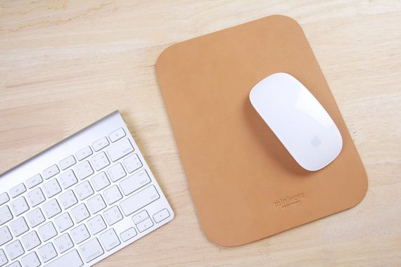 Tapis de souris de cuir - Cuir Mouse Pad - Tapis de souris personnalisé - tapis de souris - Tan Orange