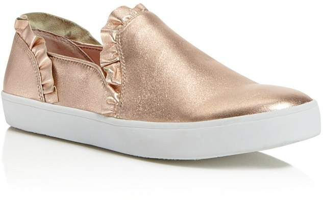 cc100c900cfe kate spade new york Women s Lilly Ruffle-Trim Leather Slip-On Sneakers