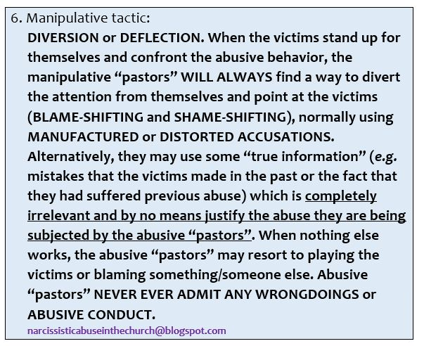 Narcissistic abuse in the church  Manipulative tactics 6  I would like to offer you some practical examples of what manipulative tactics of narcissistic abus