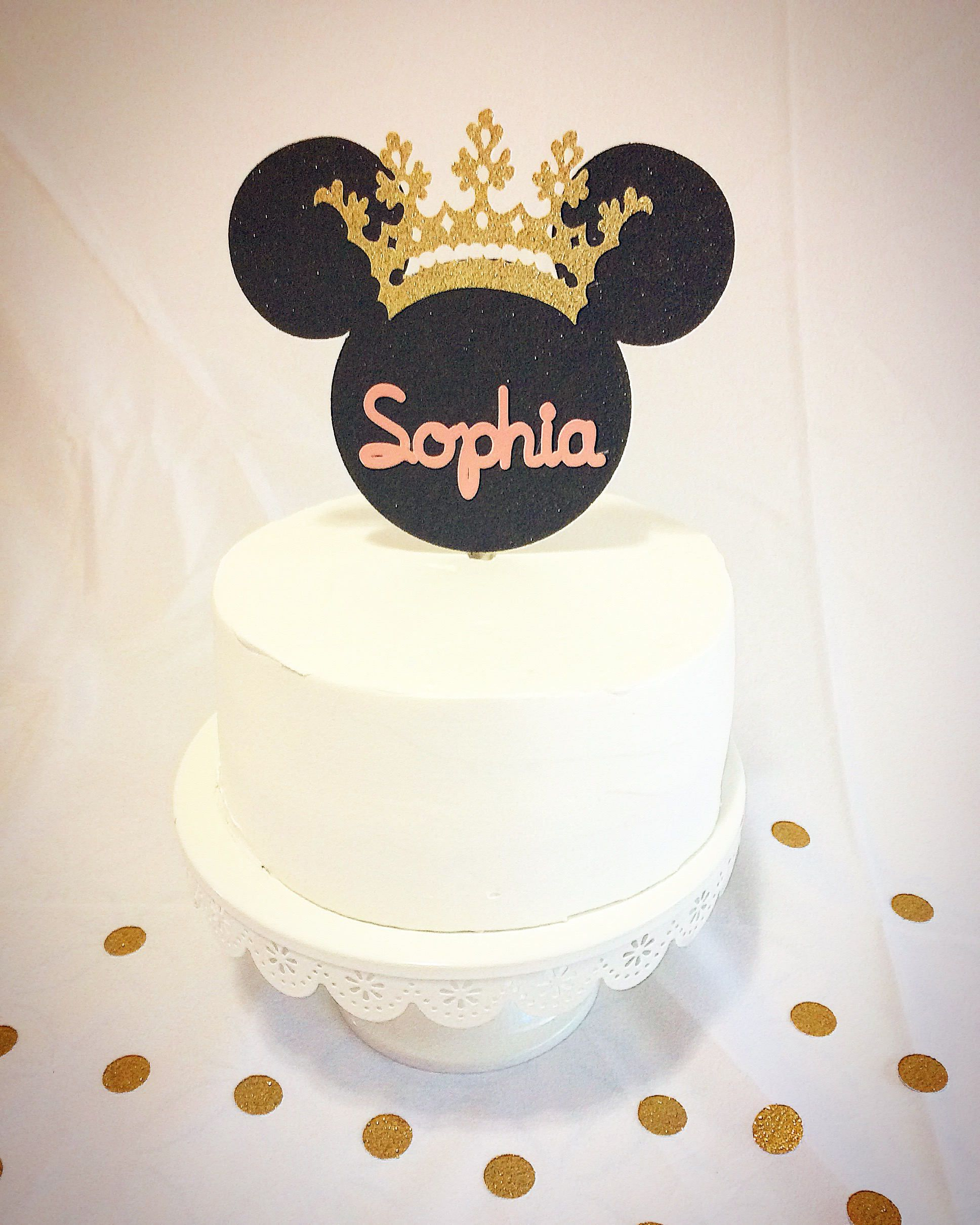 Gold and pink Minnie Mouse cake topper-princess-tiara-smash cake ...