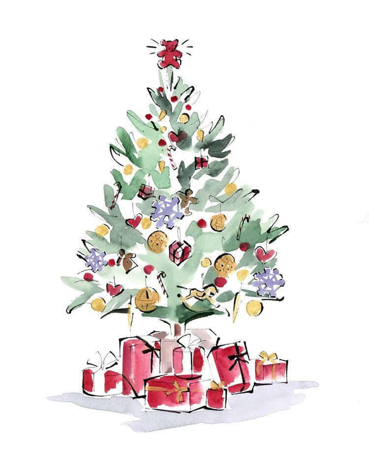Dutch Uncle Yoco Nagamiya Dorchester London Christmas Illustrations Christmas Tree Art Christmas Tree Drawing Painted Christmas Cards