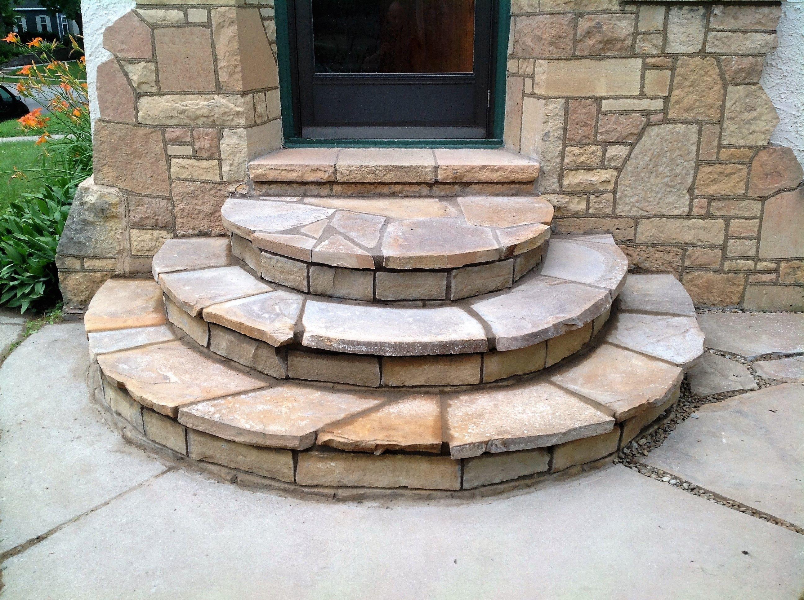 Desert bronze sandstone flagstone step overlay patio