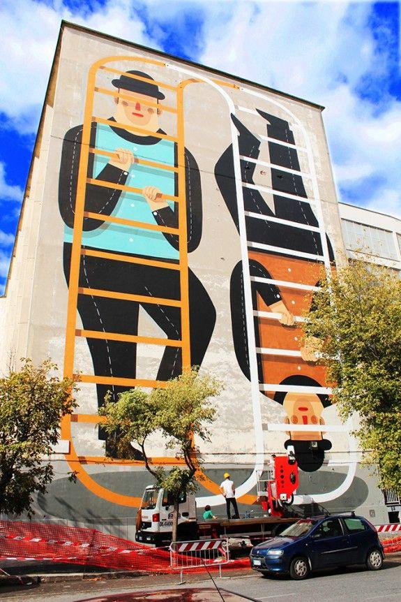 Agostino Iacurci - Prenestina, Via Aquilonia 111 #Roma - #WorldWallMap http://www.ziguline.com/muri/agostino-iacurci-roma/