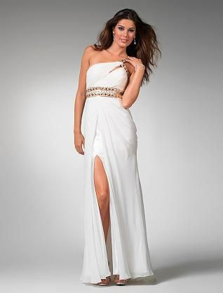 long white one shoulder split chiffon homecoming dress$128.99 ...