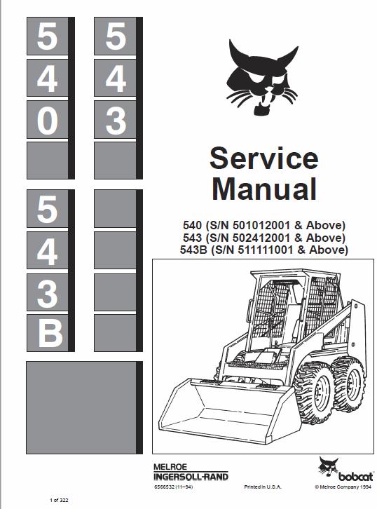 Bobcat 540 543 And 543b Skid Steer Loader Service Manual Manual Bobcat Repair Manuals