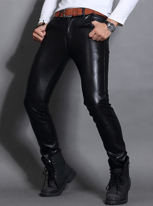 office leather: Proud wearing leather pants! Guys in