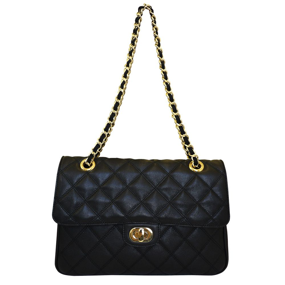 Leather quilted handbags and purses - Carbotti Designer Quilted Leather Shoulder Handbag Black