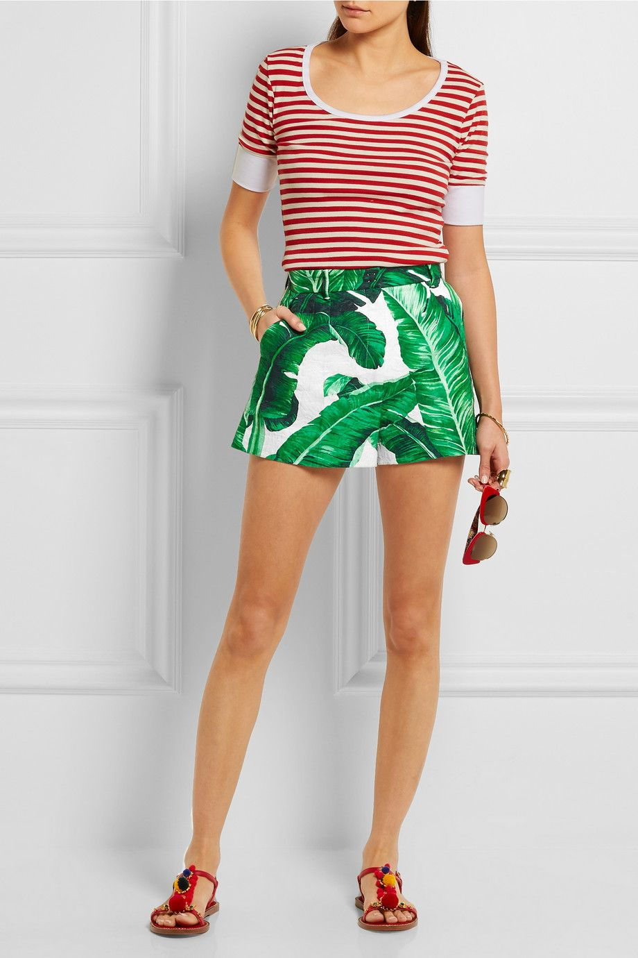 Floral cotton and silk-blend shorts Dolce & Gabbana pcsYF