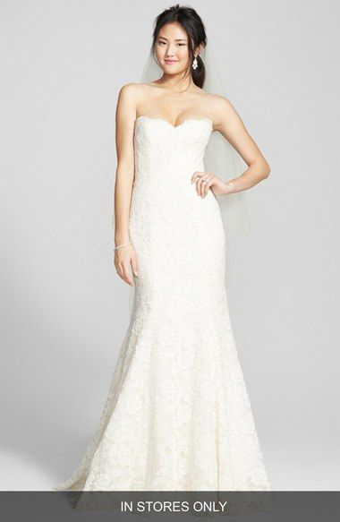 BLISS Monique Lhuillier Strapless Lace Trumpet Gown In Stores Only Available At Nordstrom