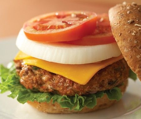 Barbecued Chicken & Bean Burgers Recipe - Healthy beans act as a binder in these delicious patties — try them for a change from beef burgers.