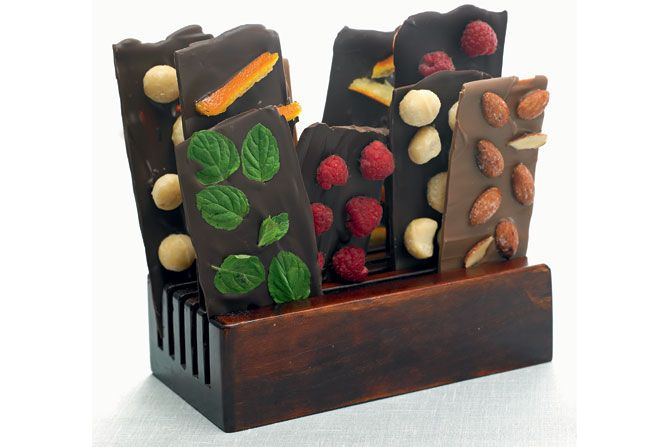 CHOCOLATE BARS WITH FOREST STRAWBERRIES, ROASTED ALMONDS, SALTS, MACADAMIA NUTS, CANDIED ORANGE PEEL OR MINTS