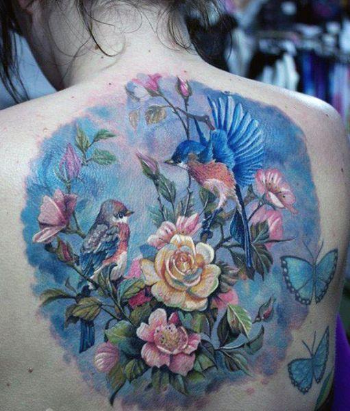 Tatuaze Damskie Kwiaty I Ptaki Tattoos Watercolor Tattoo Watercolor