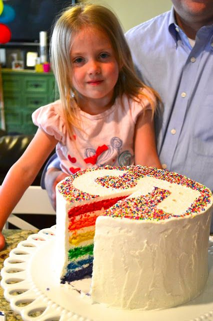 Rainbow layer cake with birthday number outlined in sprinkles