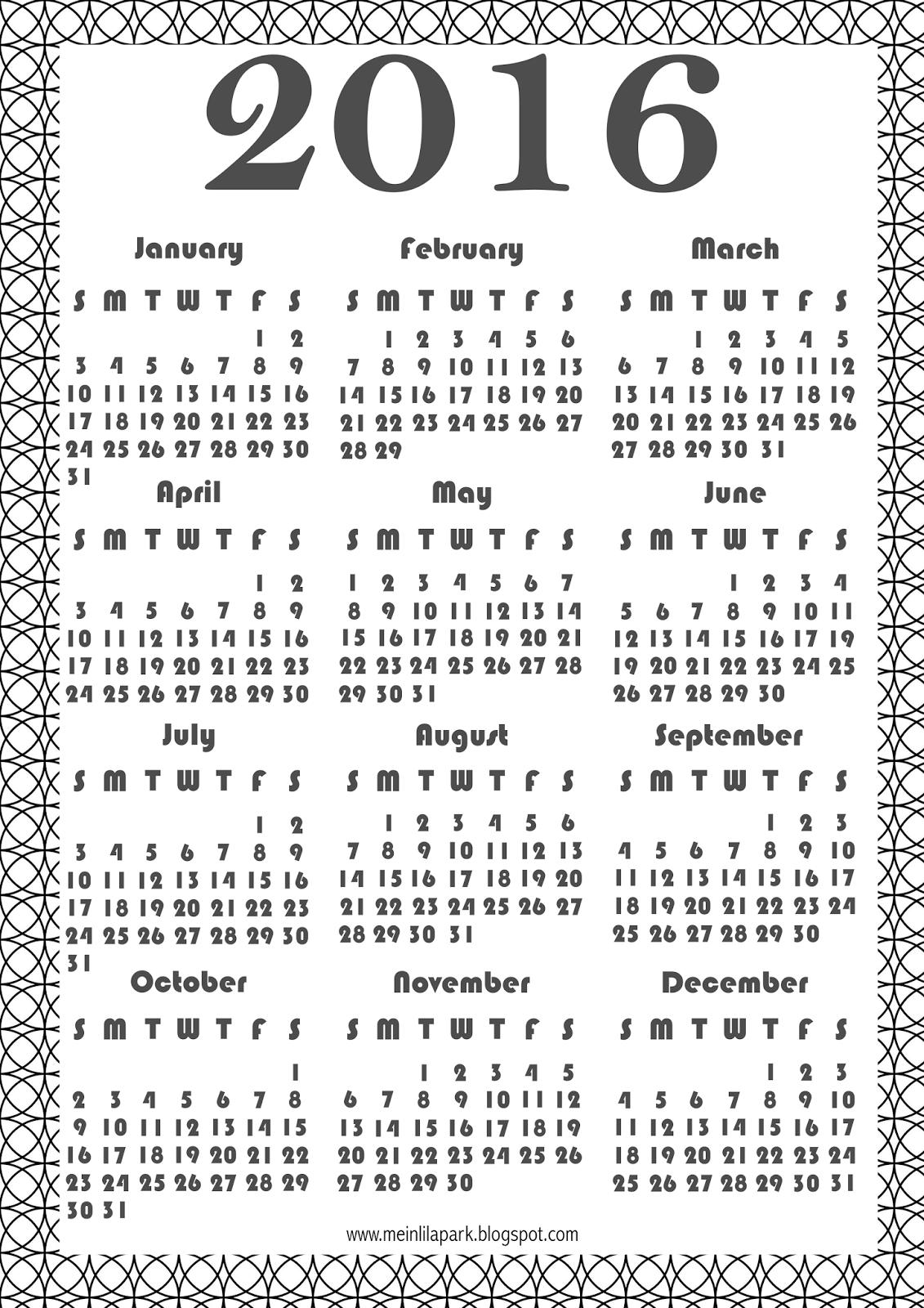 FREE printable 2016 coloring calendar   FREE PRINTABLES ✄ and ...