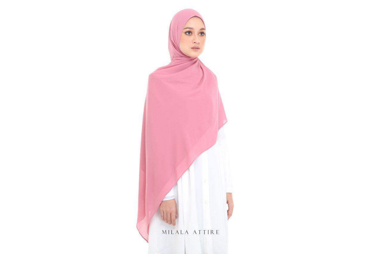 Warna Pastel Pink Material Heavy Chiffon Georgette Opacity 4 5 Tak Perlu Inner Labuh 2mx0 7m Semestinya Labuh Dan Tertutup Fashion Shopping Hijab