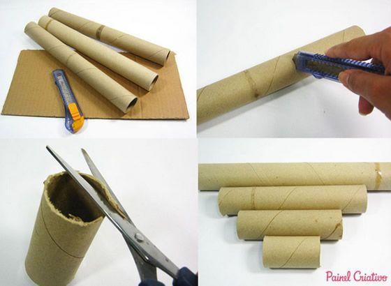 Porta Colares E Pulseiras Com Reciclagem De Rolo De Papelao
