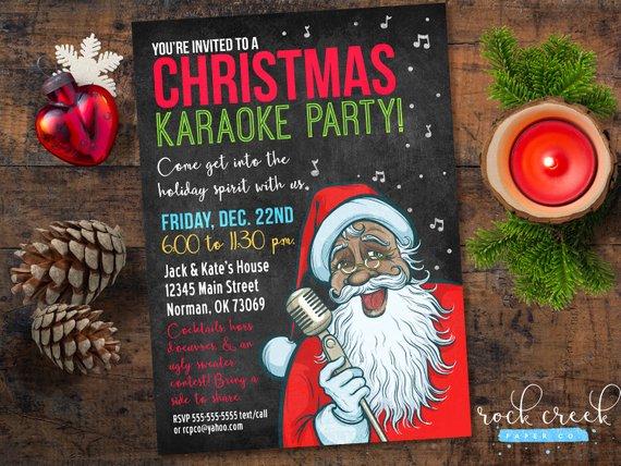 Christmas Karaoke Invitation Holiday Karaoke Party Santa