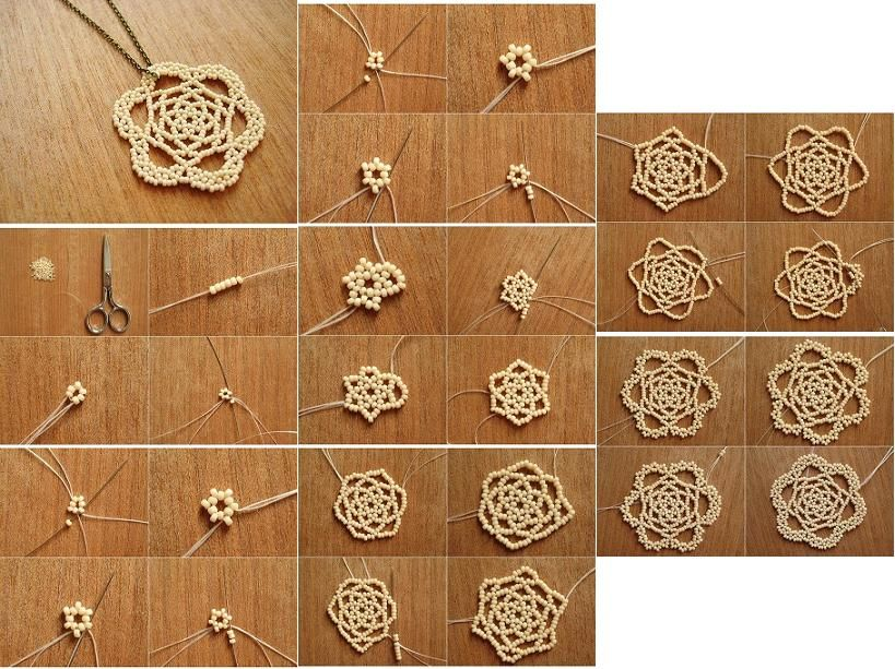 Do It Yourself Home Design: How To Make Beads Or Pearls Flower Pendant Step By Step